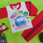 baju tidur piyama kaos panjang bayi 0-9bulan motif karakter little bus tayo bis kecil merah