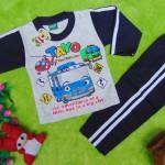 baju tidur piyama kaos panjang bayi 0-9bulan motif karakter little bus tayo bis kecil navy