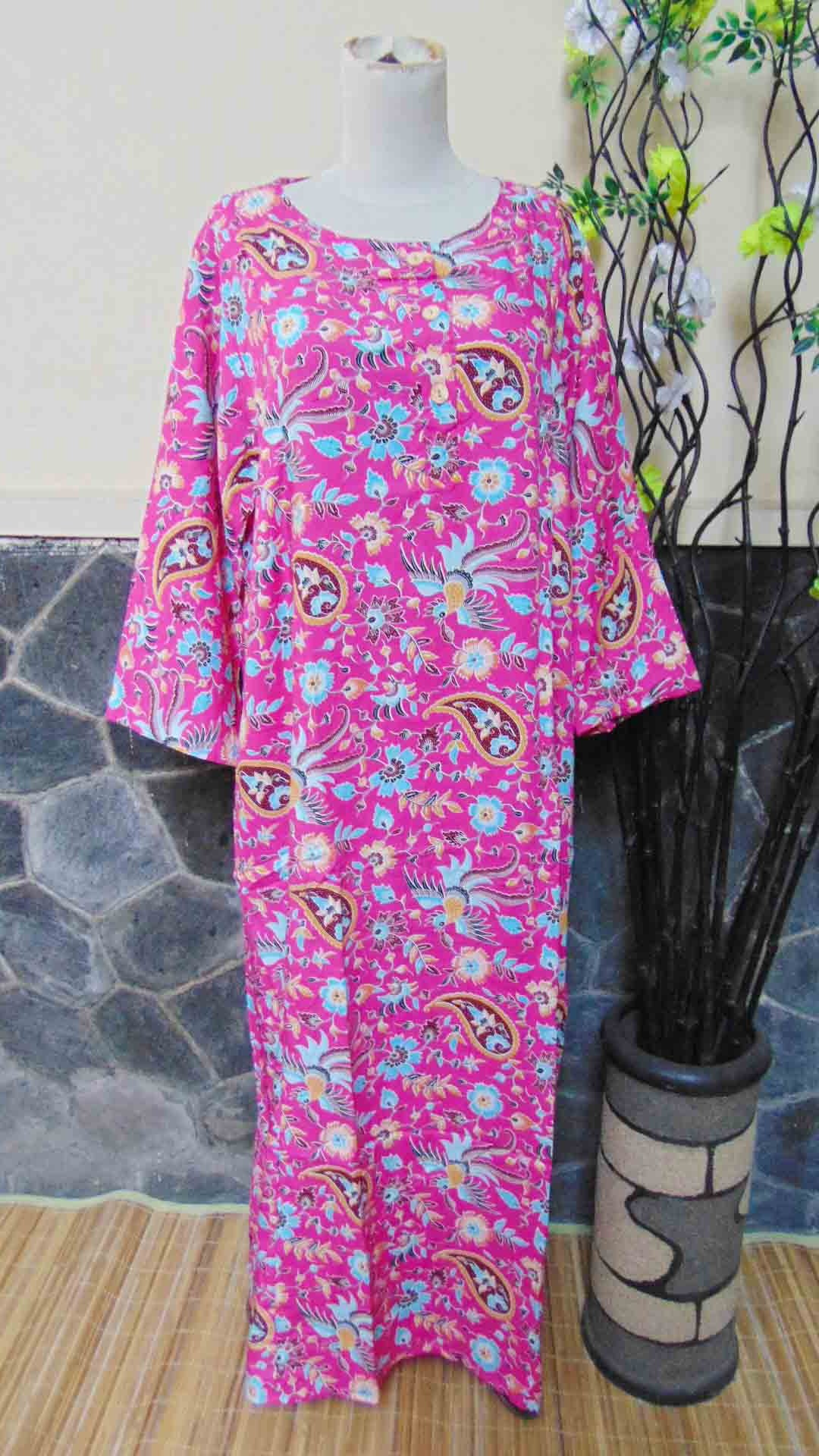 baju tidur santai batik longdress jumbo pias cantik daster lengan panjang wanita longdres baladewa motif pink cantik