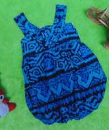 dress baju pesta batik balon yukensi anak bayi perempuan 0-9bulan motif biru etnik 25 lebar dada 21cm,panjang 41cm,cocok untuk ke pesta,ultah,kondangan