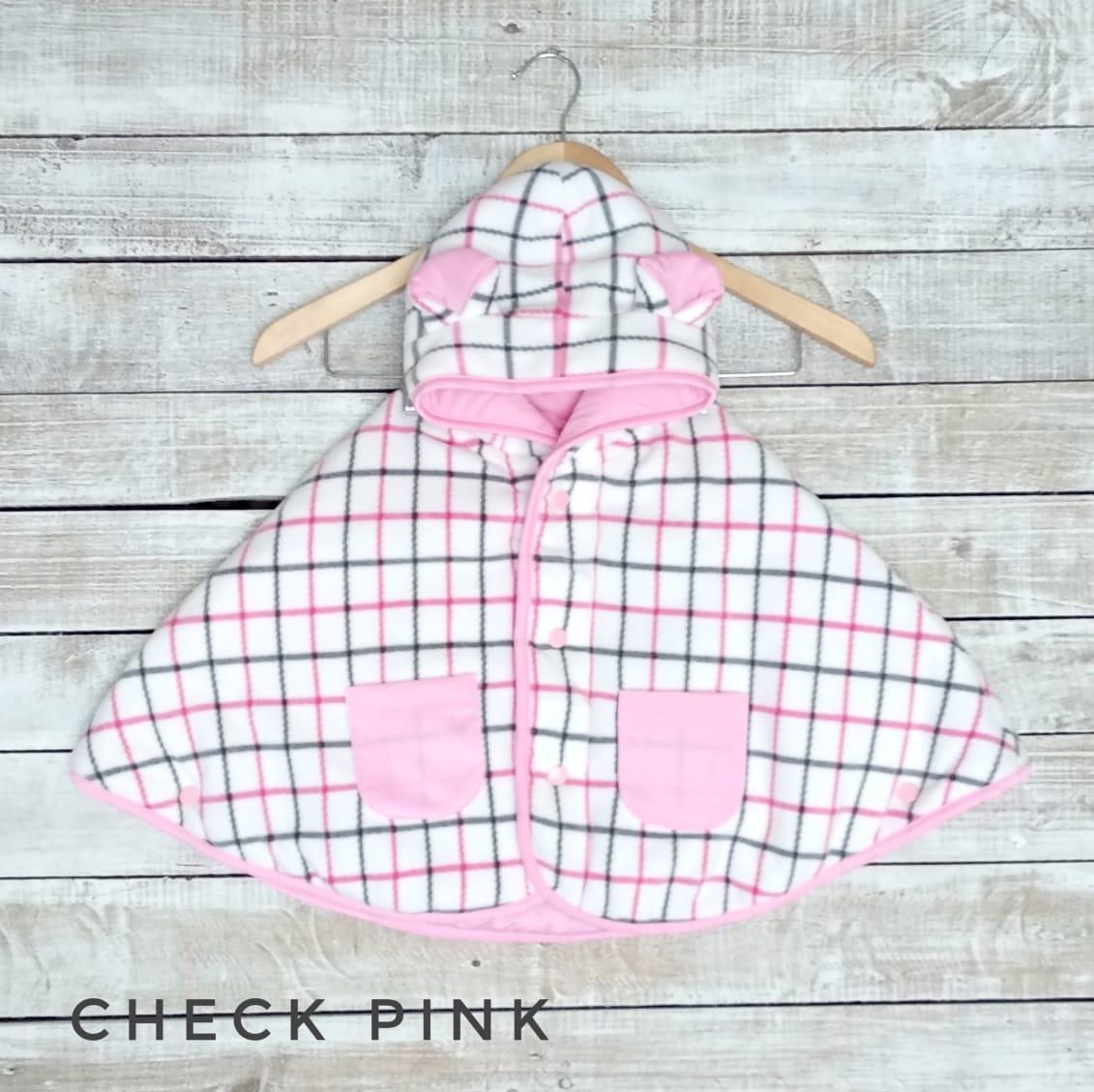 kado bayi baby cape cuddle me bolak balik jaket anak bayi toddler 0-3th motif check pink
