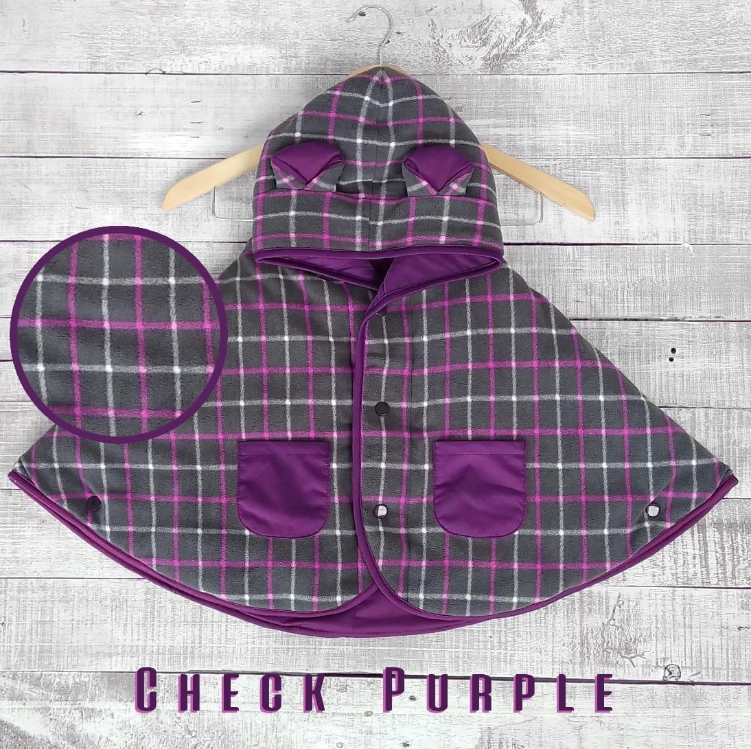 kado bayi baby cape cuddle me bolak balik jaket anak bayi toddler 0-3th motif check purple