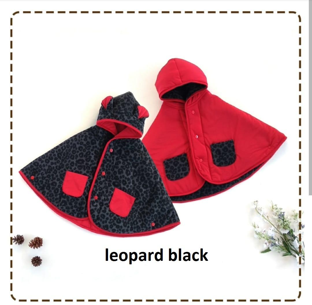 kado bayi baby cape cuddle me bolak balik jaket anak bayi toddler 0-3th motif leopard black