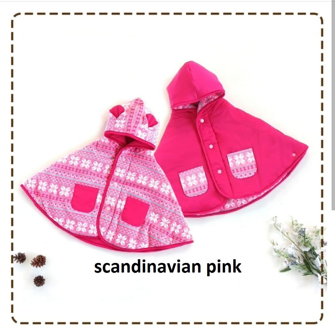 kado bayi baby cape cuddle me bolak balik jaket anak bayi toddler 0-3th motif scandinavian pink