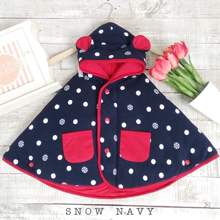 kado bayi baby cape cuddle me bolak balik jaket anak bayi toddler 0-3th motif snow navy