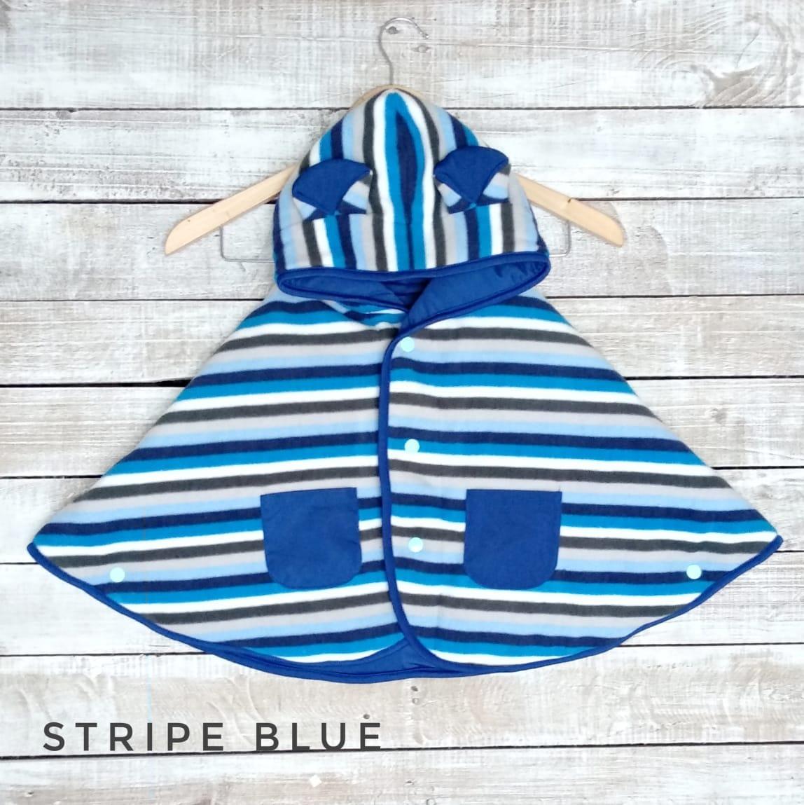kado bayi baby cape cuddle me bolak balik jaket anak bayi toddler 0-3th motif stripe blue