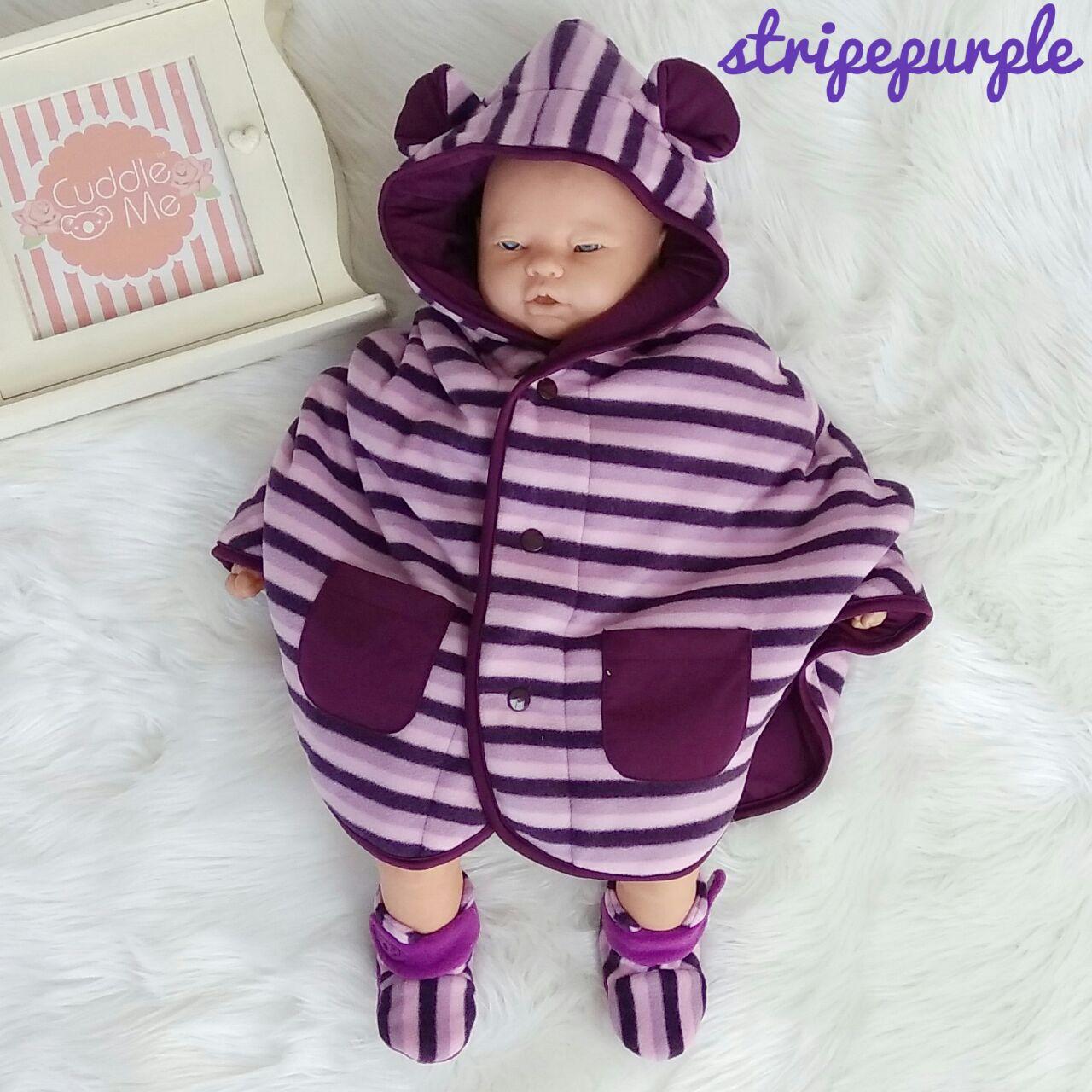 kado bayi baby cape cuddle me bolak balik jaket anak bayi toddler 0-3th motif stripe purple