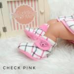 kado sepatu bayi prewalker baby newborn 0-6bulan booties cuddleme motif check pink