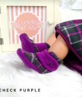 kado sepatu bayi prewalker baby newborn 0-6bulan booties cuddleme motif check purple