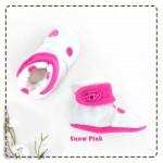 kado sepatu bayi prewalker baby newborn 0-6bulan booties cuddleme motif snow pink