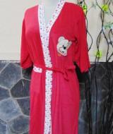 kimono handuk jubah mandi remaja dewasa fit to L beruang merah 46 lingkar dada 86cm,panjang ke bawah 91cm,cocok dipakai harian maupun saat piknik ke kolam renang,waterpark,atau waterboom