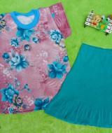 setelan kaos anak 1-2th motif bunga cantik plus rok 37 Panjang Rok 32cm, Lebar Dada 30cm, Panjang Baju 43cm