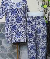 Baju tidur santai babydoll piyama batik dewasa celana panjang lengan pendek CP Bunga biru
