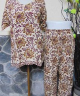 Baju tidur santai babydoll piyama batik dewasa celana panjang lengan pendek CP Bunga cokelat