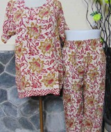 Baju tidur santai babydoll piyama batik dewasa celana panjang lengan pendek CP Bunga merah cokelat