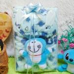 FREE KARTU UCAPAN paket kado lahiran bayi baby gift set box jaket plus boneka motif baby cow biru