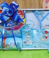 FREE KARTU UCAPAN Kado Lahiran Paket Kado Bayi Newborn Baby Gift Box Detergen plus Setelan Bayi Biru