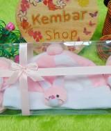 FREE KARTU UCAPAN hadiah lahiran kado bayi baby gift set topi sepatu newborn new born 0-6bulan motif kelinci soft pink