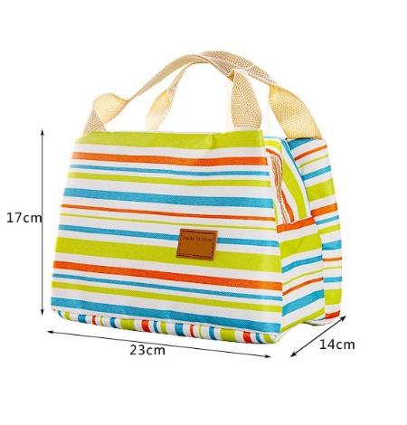 Lunch Cooler Bag Box Tas Bekal Salur Penyimpan Makanan Anak Tempat Kotak Makan Tahan Panas Motif Salur (1)