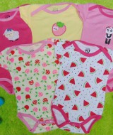 TERLARIS set 5pcs jumper carter lengan pendek bayi cewek perempuan 6 bulan 100 isi 5pcs,bahan kaos lembut nyaman adem menyerap keringat bayi