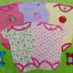 TERLARIS set 5pcs jumper carter lengan pendek bayi cewek perempuan 9 bulan 100 isi 5pcs,bahan kaos lembut nyaman adem menyerap keringat bayi