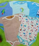 TERLARIS set 5pcs jumper carter lengan pendek bayi cowok laki-laki 6 bulan 100 isi 5pcs,bahan kaos lembut nyaman adem menyerap keringat bayi (2)