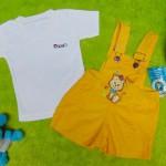 TERLARIS setelan baju kodok bayi newborn 0-6bulan bludru pingu baby kuning plus kaos