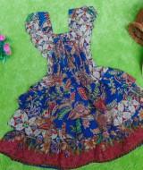 baju pesta dress batik kerut dada susun tiga anak bayi perempuan 0-12bulan motif biru
