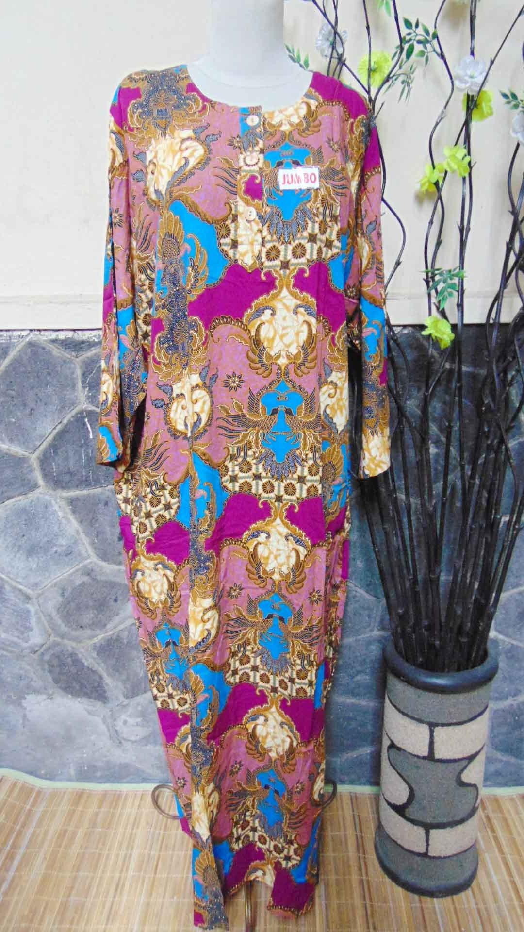 baju tidur santai batik longdress jumbo cantik daster lengan panjang wanita longdres baladewa motif batik Ungu