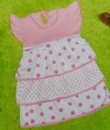 dress baju anak bayi perempuan newborn 0-12bulan peplum susun 3 pink 25 lebar dada 25,panjang 47cm,slkn dicocokkan dg uk anak krn usia hny estimasi