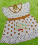 dress baju bayi perempuan cewek newborn 0-6bulan murah lembut polka cokelat kombi 22 lebar dada 23cm,panjang baju 39cm,bahan kaos lembut nyaman dipakai,bikin dedek baby makin cantik