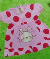dress baju bayi perempuan cewek newborn 0-6bulan murah lembut polka pink fanta kelinci 22 lebar dada 24cm,panjang baju 38cm,bahan kaos lembut nyaman dipakai,bikin dedek baby makin cantik