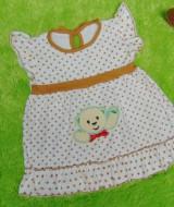 dress baju bayi perempuan cewek newborn 0-6bulan murah lembut polka putih 22 lebar dada 24cm,panjang baju 36cm,bahan kaos lembut nyaman dipakai,bikin dedek baby makin cantik