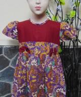 dress baju gaun pesta batik anak batita cewek perempuan 2-3 tahun pita motif ungu maroon