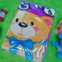 kado bayi baby new born gift hadiah lahiran selimut topi bulu tebal hangat lembut motif beruang pink (1)