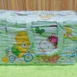 kado bayi tas perlengkapan bayi motif kuda nil hijau dengan tempat botol susu tahan panas dingin