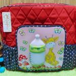 kado bayi tas perlengkapan bayi super besar motif botol susu 3D merah polka navy