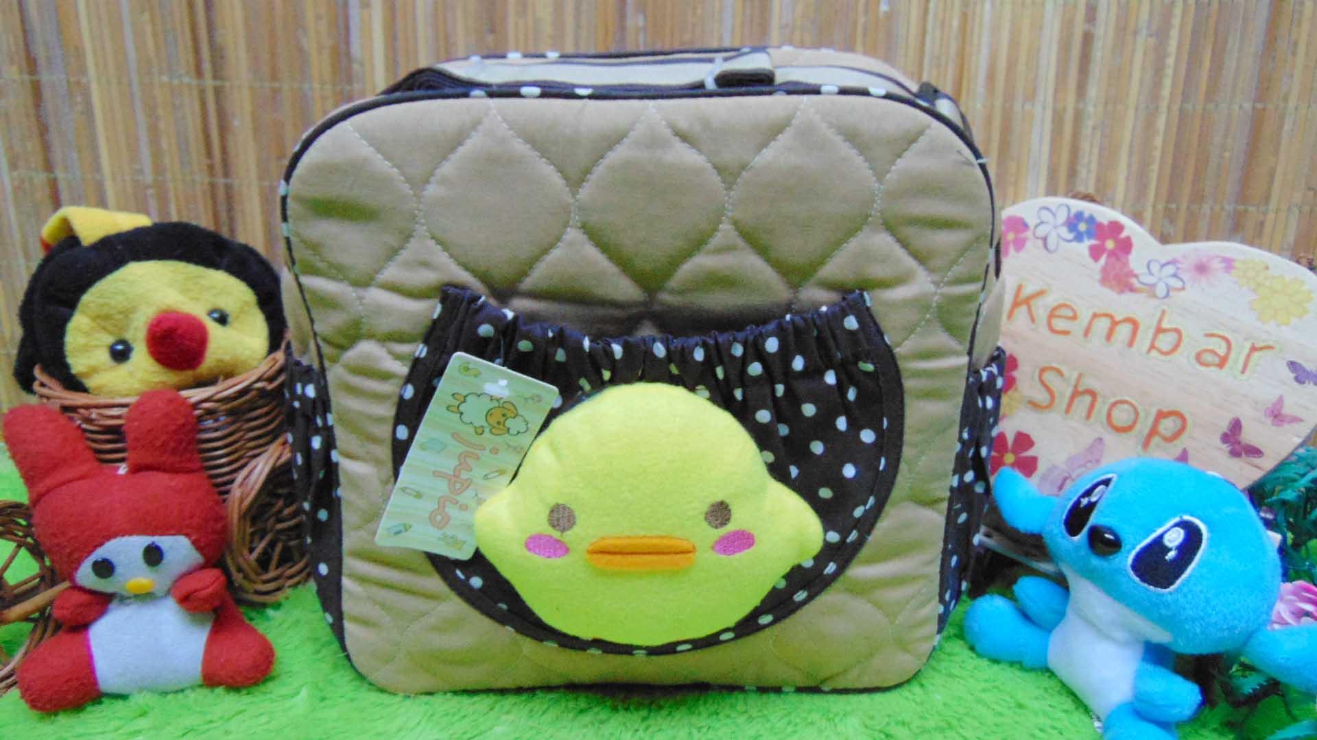 kado lahiran bayi baby gift tas perlengkapan bayi bebek lucu cokelat polka