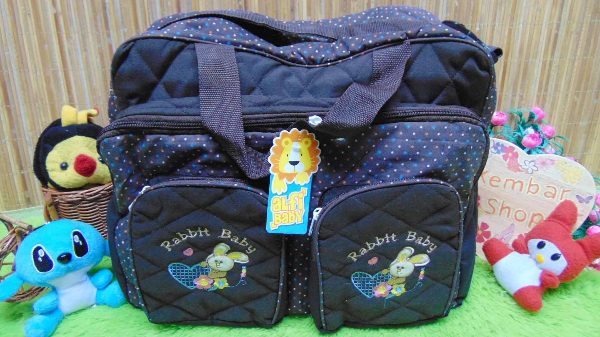 kado lahiran bayi baby gift tas perlengkapan bayi jumbo polka besar cokelat