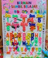 mainan edukatif edukasi anak balita PAUD TK alphabet angka 18 menstimulasi kecerdasan anak,warna mencolok shg menarik bagi anak,beserta aljabar, bahasa inggris angka