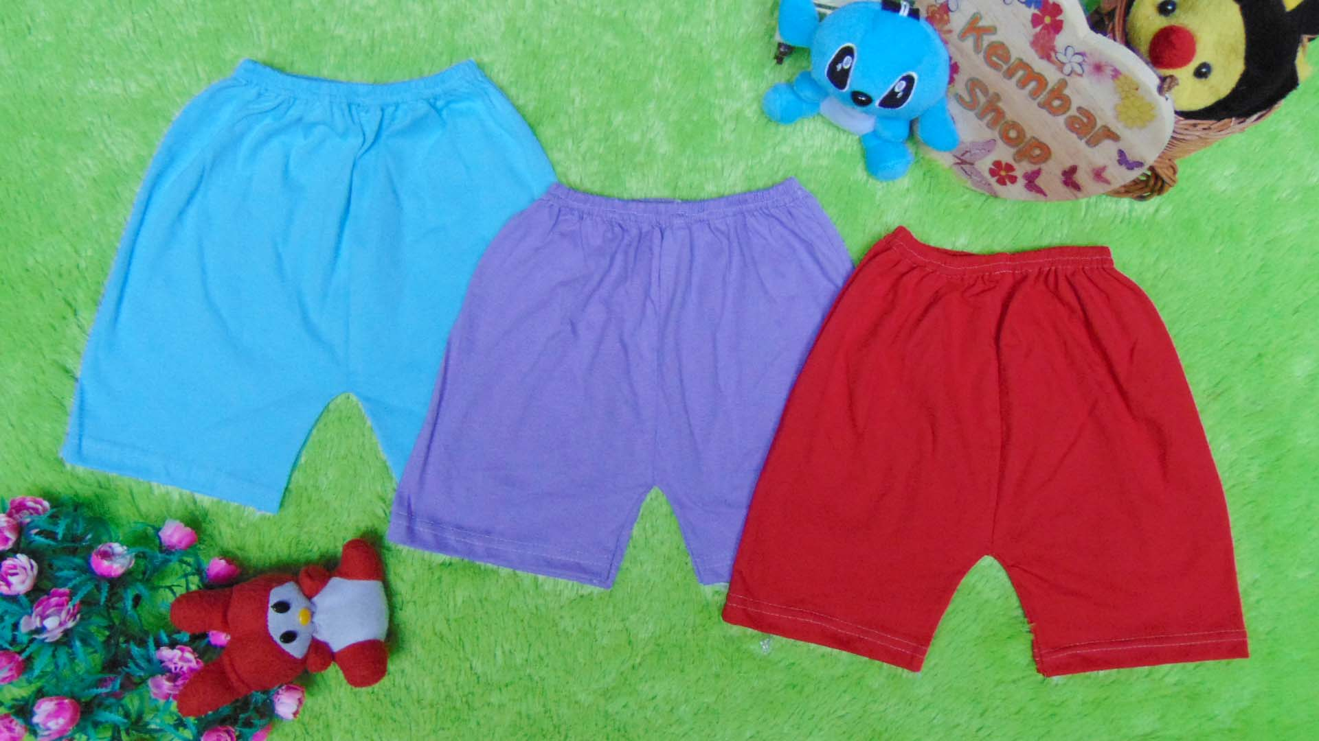 paket hemat set 3pcs celana pendek anak bayi batita all size 1-3th RAINBOW warna random (3)