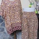 piyama batik dewasa celana panjang lengan pendek CP JUMBO motif rerambatan cokelat