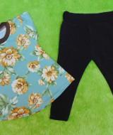 setelan baju bayi perempuan cewek 0-12bulan plus legging Motif Bunga Kuning Mekar 30 Lebar Dada 24,5cm, Panjang Baju 34cm, Panjang Celana 42cm