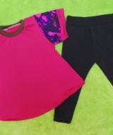 setelan baju bayi perempuan cewek 0-12bulan plus legging Motif Hot Pink Kombi 30 Lebar Dada 30,5cm, Panjang Baju 38cm, Panjang Celana 42cm