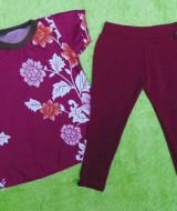setelan baju bayi perempuan cewek 0-12bulan plus legging motif Bunga Maroon 30 Lebar Dada 28,5cm Panjang Baju 39cm, Panjang Celana 43cm