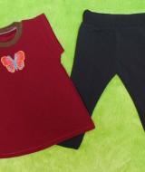 setelan baju bayi perempuan cewek 0-12bulan plus legging motif Butterfly Maroon 30 Lebar Dada 27,5cm, Panjang Baju 39cm, Panjang Celana 42cm