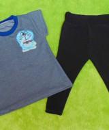 setelan baju bayi perempuan cewek 0-12bulan plus legging motif Doraemon Abu Berkilau 30 Lebar Dada 28cm, Panjang Baju 35cm, Panjang Celana 42cm