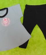 setelan baju bayi perempuan cewek 0-12bulan plus legging motif Kelinci Lucu Abu 30 Lebar Dada 28cm, Panjang Baju 38cm, Panjang Celana 42cm.