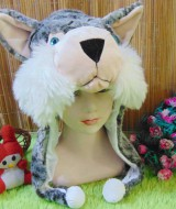 Animal hat topi binatang jumbo motif Kucing Hutan Abu