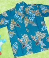 Baju batik bayi anak laki-laki kemeja batik batita hem anak cowok 2-4th baju pesta motif kawung parang hijau